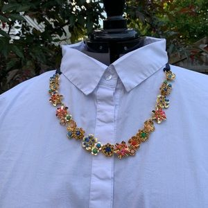 Gold Metal Floral Accessory with Navy Ribbon